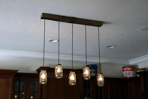 5 Light DIY Mason Jar Chandelier Kitchen Lighting Rustic