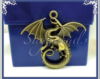 3 Larger Sized Antiqued Brass Dragon Pendants 45mm PB62