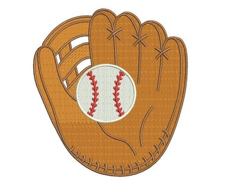 Baseball Mitt (Glove) with a ball Machine Embroidery Digitized Filled Design Pattern - Instant Download - 4x4 , 5x7, 6x10