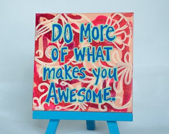 Hand Painted Positive Quote Art - What Makes You Awesome Mini Canvas Painting - Motivational Sign - Red Original Art - Small Gifts