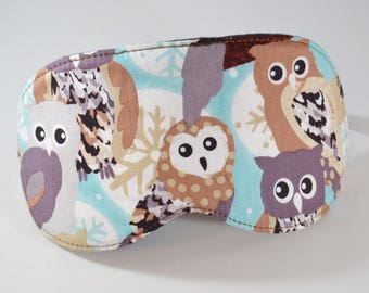 Owl Sleeping Eye Mask, Unisex Audobon Lover Sleep Cover, Relax Spa Addition, Night Shift Worker, Winter Snowy Owls Gift for Him Her Mom Dad