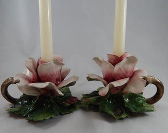 Outstanding Vintage Pair of Nuova Capodimonte Candle Holders, Lush Pink Tea Roses, Italian, Made in Italy
