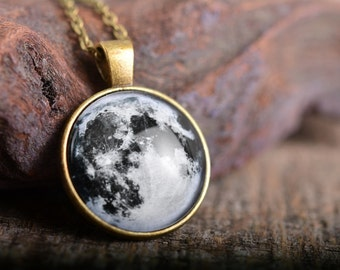 Full moon necklace, galaxy necklace, moon necklace, antique brass pendant, space necklace, antique brass necklace, glass dome necklace