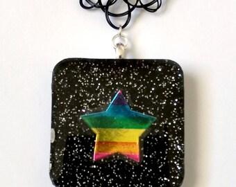 Resin Pendant with Vintage Lisa Frank Sticker - Kawaii Jewelry Decora Jewelry Pop Kei Jewelry Tattoo Necklace Rainbow Star 80s Fashion