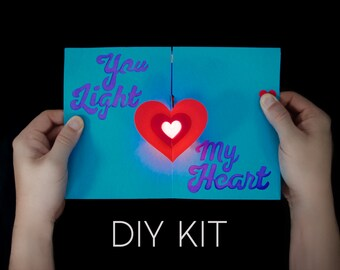 Herz-Licht-Up-Karte Kit - Karte - DIY-Karte - Unikat - magische Karte Kit - Valentine Card Kit - Papier Engineering - Papier-Schaltungen-Kit