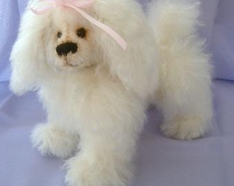 Tootsie, poodle dog softie pattern Bearflair Alaine Ferreira, mohair artist bear