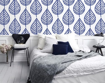 Leaves - Adhesive Wallpaper - Removable Wallpaper - Wall Sticker - Wall Mural - Customizable Wallpaper