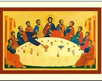 5 Icon Style Holy Cards - The Secret of the Meal (Last Supper) - Prayer Card
