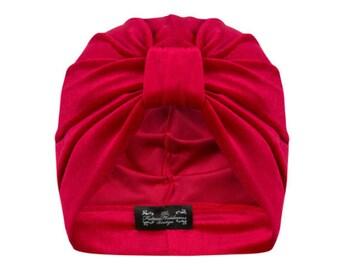 Ava Velvet Turban in Scarlet Red