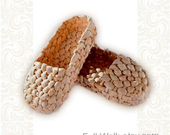Bast shoes, Russian traditional footwear from reedmace, Russian traditional costume, ethnic footwear, country style, dances footwear, лапти