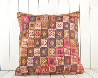 Turkish Kilim pillow, 24x24 inch, 60x60 cm kilim pillow cover, home decor, decorative throw pillow, turkish kilim pillow, home decor, pillow