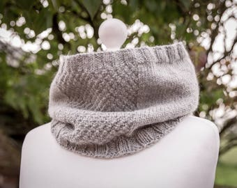 Cosy Neckwarmer, Cowl - Grey Merino/Alpaca - Hand Knit - women, men