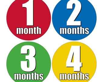 12 Monthly Baby Milestone Waterproof Glossy Stickers - Just Born - Newborn - Weekly stickers available - Design M017-01