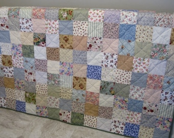 Custom Made King Size Quilt, Patchwork Quilt Made to Order, Pastel Cottage Chic, Traditional Farmhouse Decor, Wedding Gift
