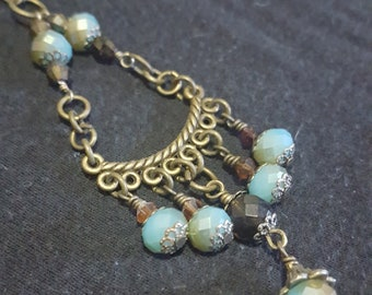 Aqua Essence Swarovski Crystal and Antique Brass Necklace