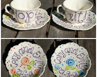 Time for Tea. .  Handpainted Personalized Tea Cup & Saucer, large size