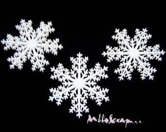 Set of 3 large snowflakes Christmas plastic scrapbooking (ref.410) *.