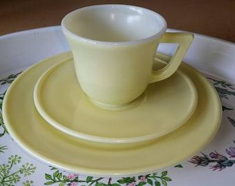 Hazel Atlas Milk Glass Toy Tea Cup & Plate Set - Yellow