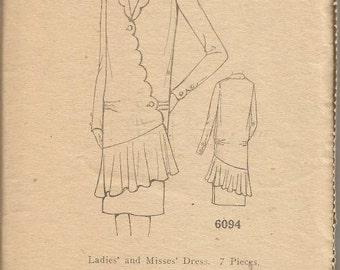 1920s Flapper Dress Art Deco Dress Scallops Long Sleeve Ladies Home Journal 6094 Unused FF Bust 38 Full Figure Womens Vintage Sewing Pattern