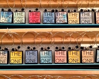 You're The One Scrabble Tile Custom Wine Glass Charms