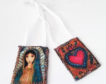 Virgen de Guadalupe Scapular -   Handmade - Original Art by FLOR LARIOS