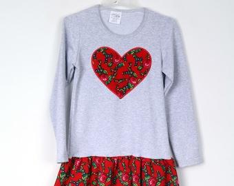 Girl's Dress, Long Sleeve, Polish Folk, Regional Ornament Grey/ Red