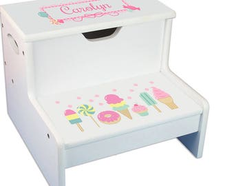 Quick View. Baby Girlu0027s Personalized White Sweet Dreams Storage STEP Stool  ...