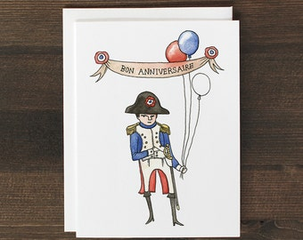 Funny Birthday Card in French Napoleon Bonaparte Bon Anniversaire