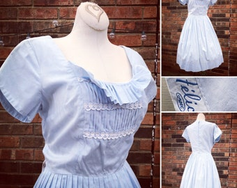 Vintage Womens 1950s Baby Blue Day Dress With Swing Dress Betty Draper Dress Pinup
