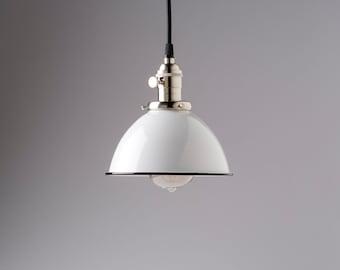 White Vintage Industrial Porcelain Enamel Dome Shade Pendant Light Fixture
