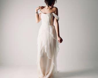Off shoulder wedding dress, Color wedding dress, Bohemian Wedding dress, Blush wedding dress, Boho wedding dress, Silk Chiffon bridal gown