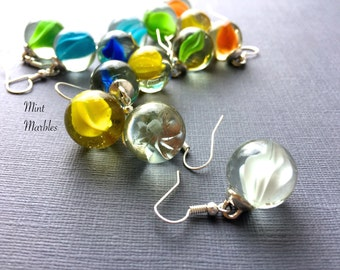 Marble Dangle Earrings. Green. Blue. Swirls. Unique Games. Silver Hooks. Under 10. Simple Gifts for Her. Whimsical. Marble Jewelry.