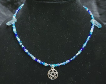 Glass Bead Neclace with Pentacle Charm