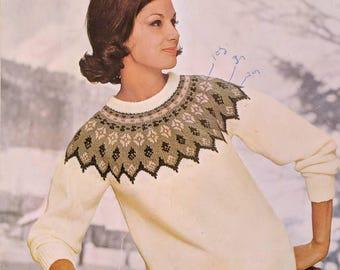 P&B Wools Norwegian Traditional Circular Yoke Ladies Jumper