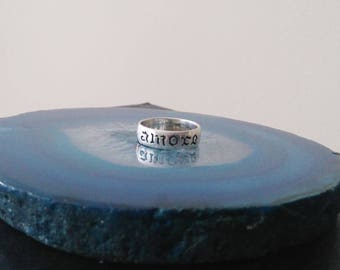 Vintage Amore Love Engraving Sterling Silver Band Ring, 925, Size 7 1/2 R1