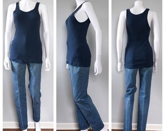Vintage 70s Blue Ribbed Tank top