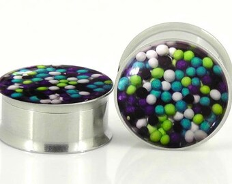 "Galaxy Sprinkle Plugs - 0g,00g,7/16,1/2, 9/16, 5/8,11/16"",3/4,7/8,24mm,26mm,28mm,30mm,32mm"