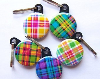 Plaid Zipper Pulls- Assorted Set of 5