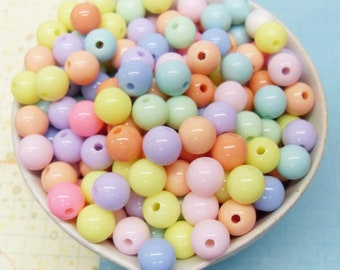 75x 8mm Pastel Resin Multi color Globe beads