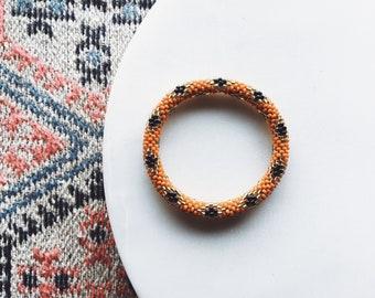 Beaded Diamond Pattern Bracelet - Burnt Orange + Gold + Black