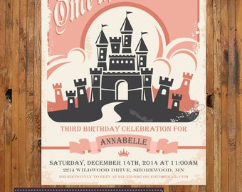 Once Upon a Time Birthday Invitation - Princess Birthday -1st, 2nd, 3rd, 4th, 5th, 6th, 7th, 8th Birthday Invitation - Item 0210
