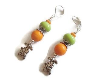 Rabbit Earrings Spring Easter Jewelry Bright Lampwork Bead Earrings S61