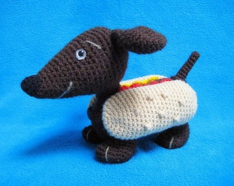 Wiener Dog Dachshund Hot Dog Amigurumi CROCHET PATTERN PDF Toy Animal