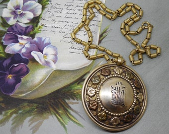 Ornate Vintage Chinese Calligraphy Pendant Necklace on Chain    MBF20