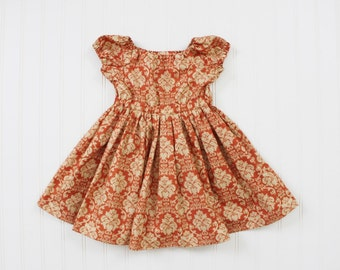 Orange Damask Peasant Dress - Sizes 2T and 3T RTS