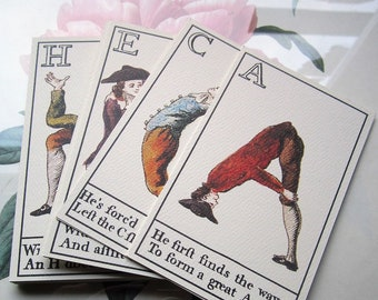 Vintage Posture Master Alphabet Deck Flash Cards by Colonial Williamsburg Foundation 1995, Carington Bowles Comical People Posing As Letters