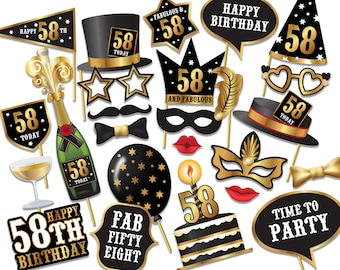 58th birthday Photo Booth props - Instant Download printable PDF. Fifty eight birthday party Photo Booth supplies. Fifty eight today - 0206