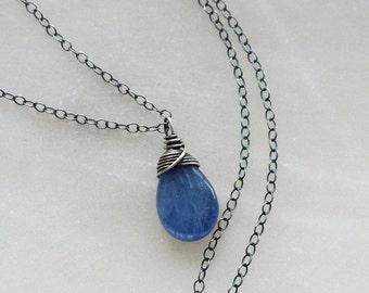 Oxidized Kyanite Necklace, Oxidized Sterling Silver Necklace, Small Kyanite Necklace, Oxidized Pendant, Kyanite Jewelry