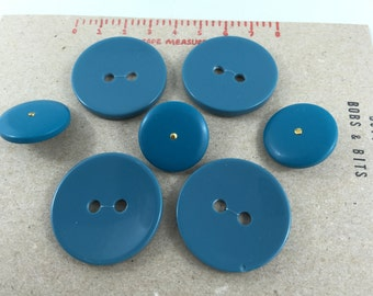 4x Aqua (blue/green) Vintage plastic Buttons (34mm diameter).  Three free buttons