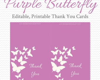 Purple Butterfly Thank You Cards, Radiant Orchid Bridal Shower, Personalized Note Cards, Wedding, Baby Shower - Printable, Editable, Instant